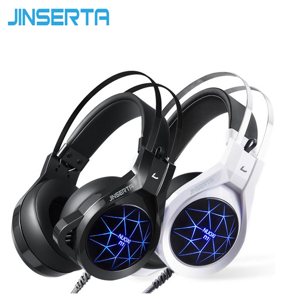 JINSERTA Gaming headset with mic for PC headphones Luminous 7 color Durable headset Big ear Cap comfortable stereo 50mm driver kz headset storage box suitable for original headphones as gift to the customer