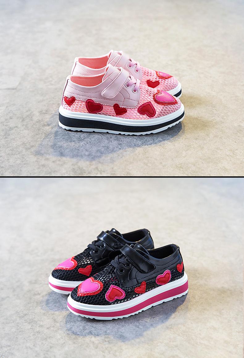17 Spring girls slip-on love heart shoe for children fashion mesh shoe baby girl brand casual sneaker platform kid sneakers 5
