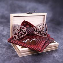 Black Walnut Flower Hollowed Bow Tie Men Wedding Party Business Wood Set Handkerchief Cufflinks