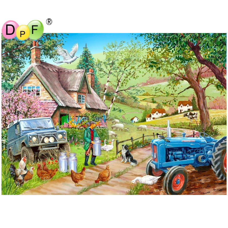 DPF 3D Diamond Embroidery Farm landscape Diamond Painting Cross Stitch Square diamond Mosaic kit Needlework home Decor picture