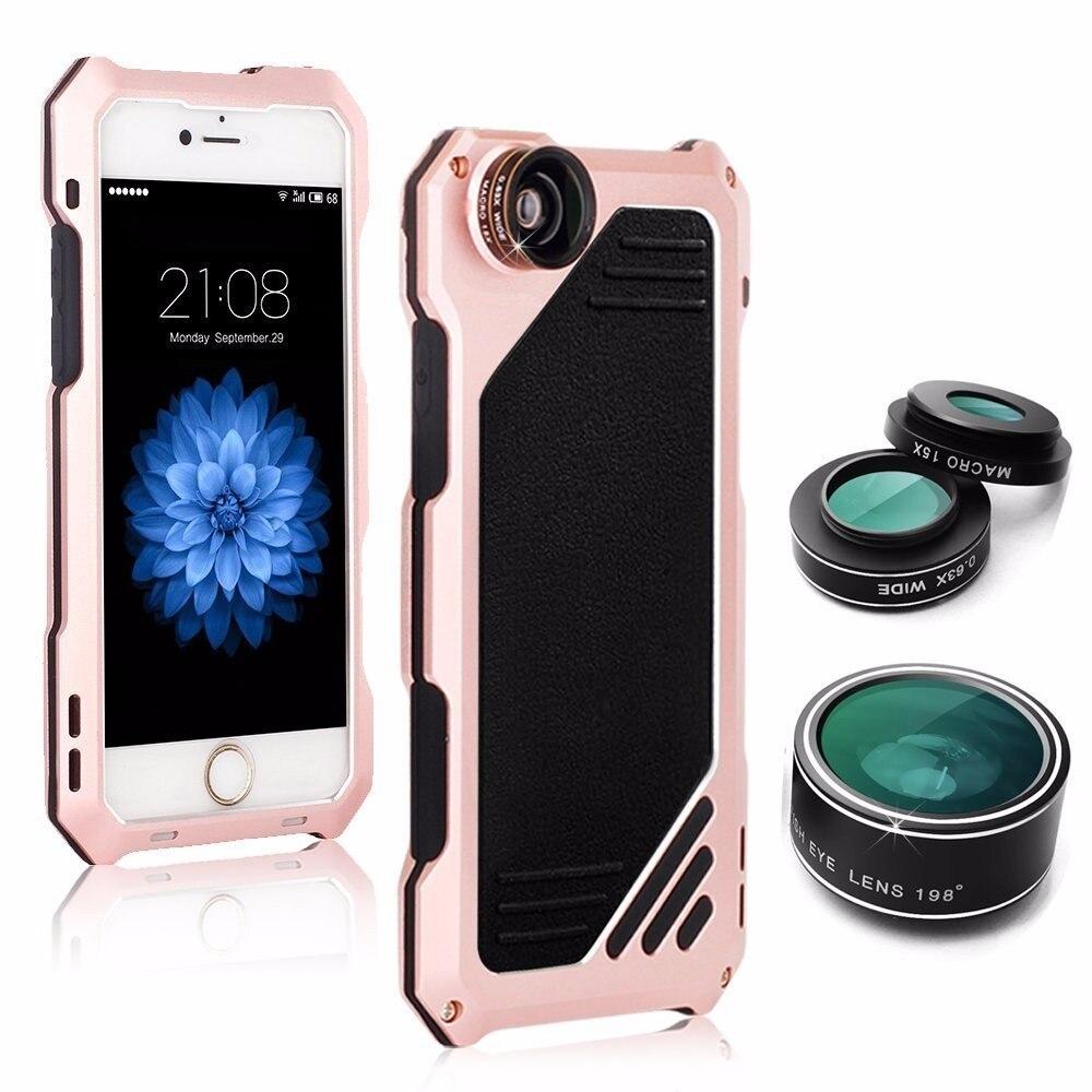 imágenes para De aluminio del Metal Para el iphone 5 5S SE 6 6 S 7 Más Caja del teléfono de La Cámara Lente antidetonante Suciedad-resistente Cubierta de Protección + Vidrio Templado
