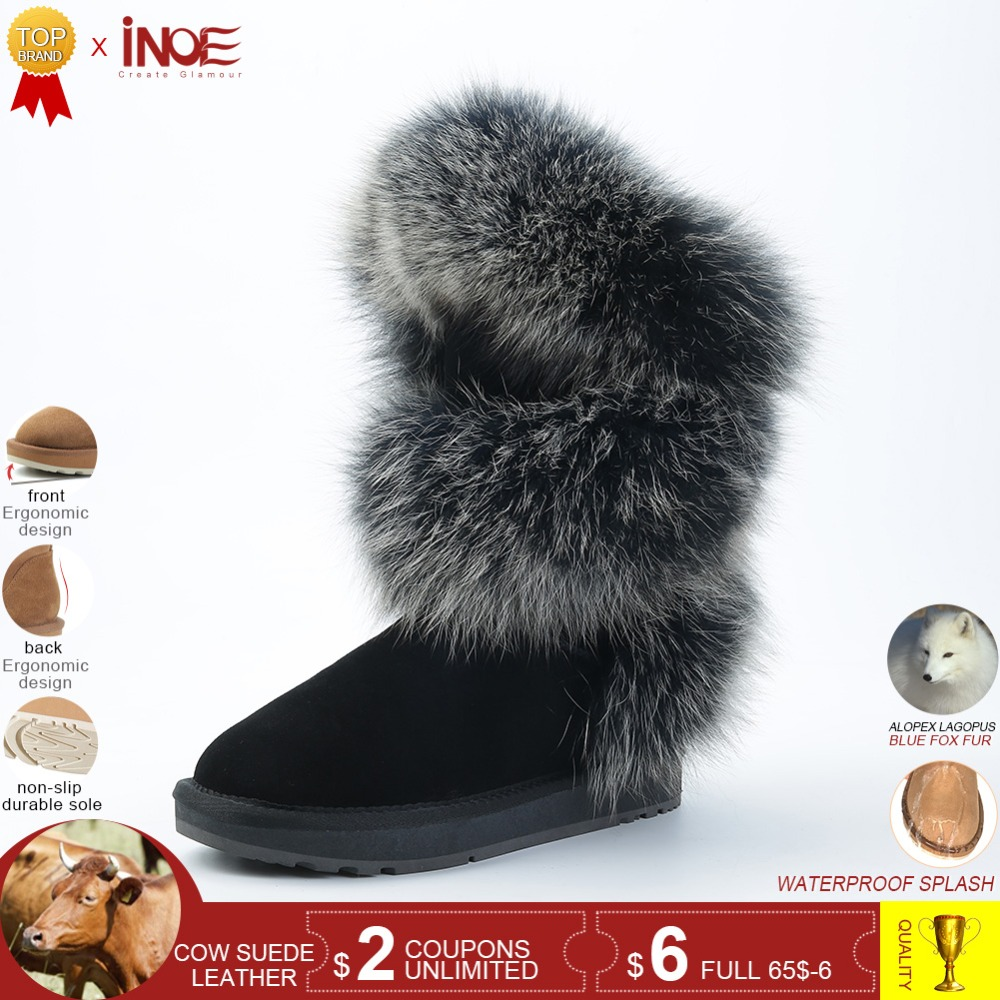 48b4bf90aedfd INOE fashion style real blue fox fur women high winter snow boots cow suede  leather winter shoes flats black grey high quality