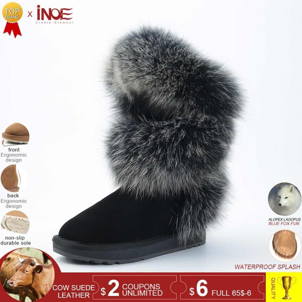 67d0530c3 INOE сапоги женские зимние модный стиль натуральный лисий мех коровья кожа  женская высокая зимняя обувь на