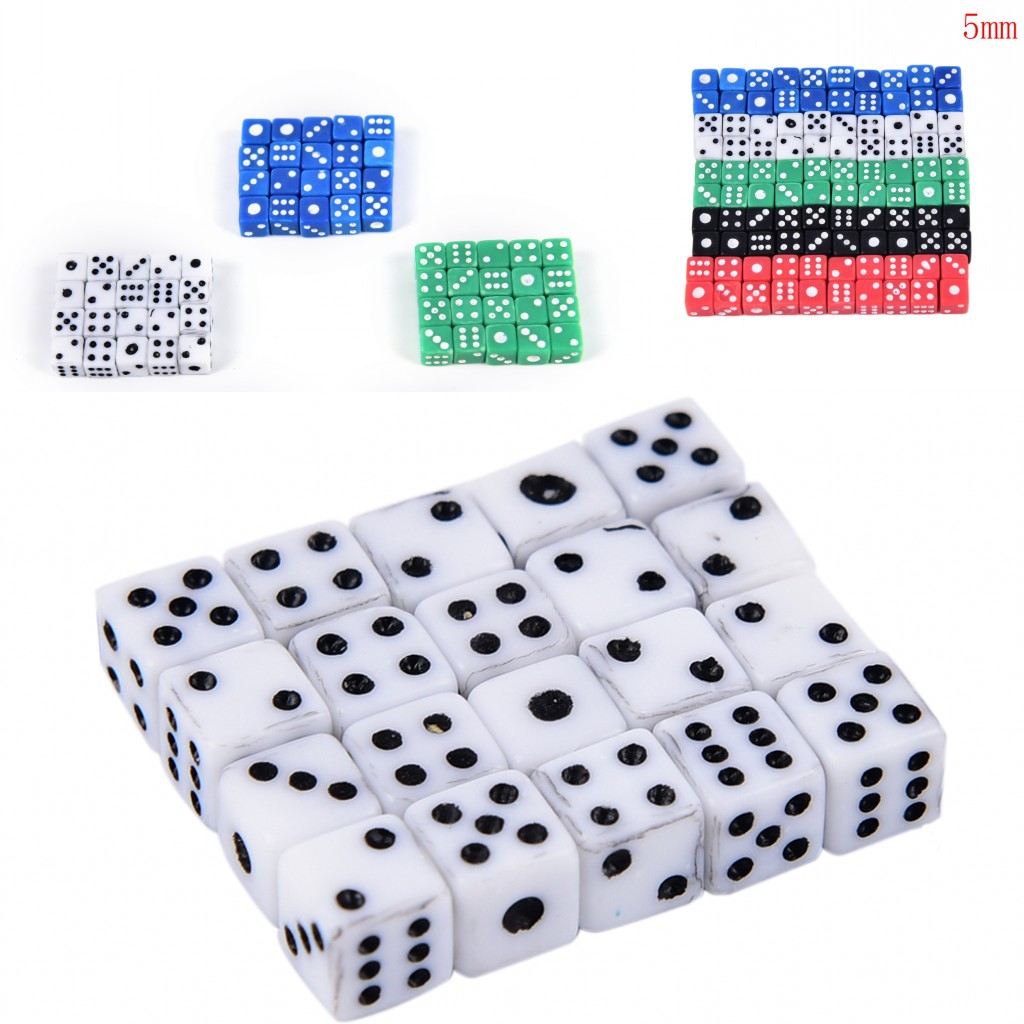 2019 New 20pcs X Dices Standard 5mm Dice Set D6 Acrylic For Playing Game Small Dice Red,blue,green,white,black