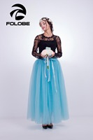 FOLOBE Kho Sky Blue Puffy 7 Lớp Tulle Váy Mùa Hè Cao Eo Maxi Dài Váy Womens Adult Tutu Faldas Saias