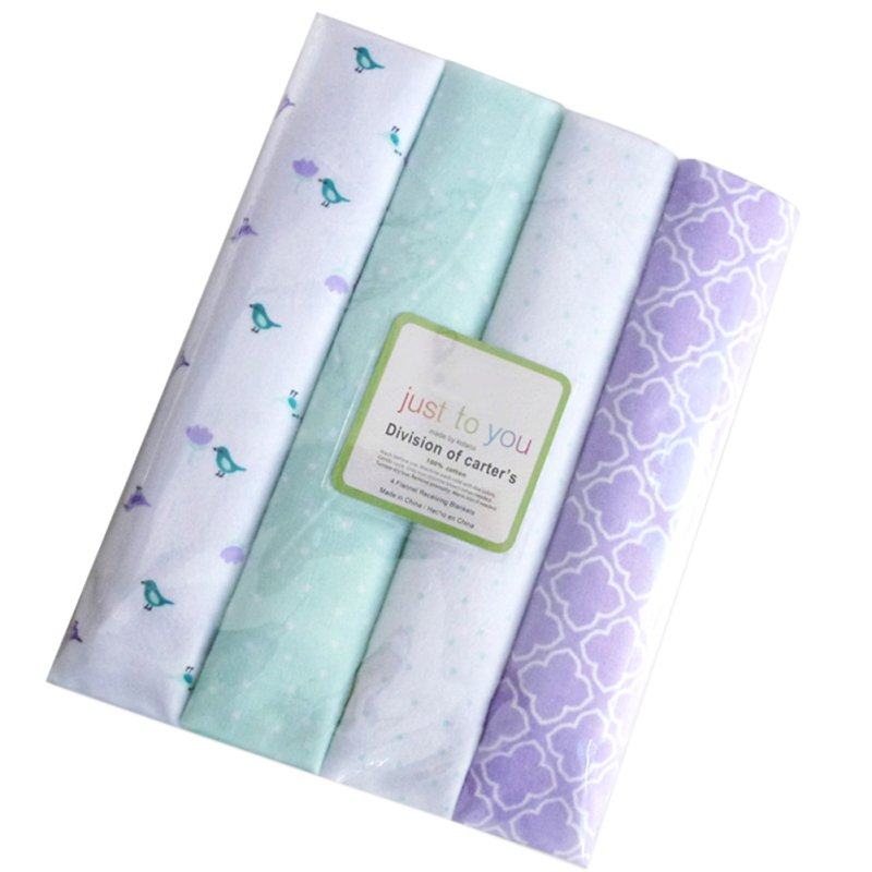 100% Cotton Supersoft Flannel Receiving Baby Blanket Swaddle Baby Bedsheet Baby Blankets 4Pcs/Pack