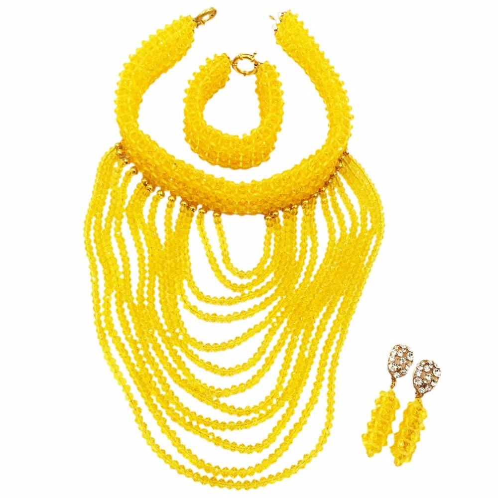 Yellow Crystal Bridesmaide Jewelry Set Nigerian Wedding African Beads Jewelry Set Beads for Women Free Shipping WDK-016Yellow Crystal Bridesmaide Jewelry Set Nigerian Wedding African Beads Jewelry Set Beads for Women Free Shipping WDK-016
