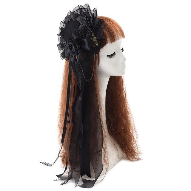 Noir Mini haut chapeau pince à cheveux mignon gothique Lolita filles Rose coiffe de tête cheveux accessoires carnaval fête de mariage carnaval