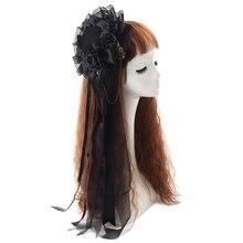 Đen Mini Mũ Tóc Dễ Thương Gothic Lolita Bé Gái Hoa Hồng Đầu Mặc Phụ Kiện Tóc Carnival Cưới Buổi Tiệc
