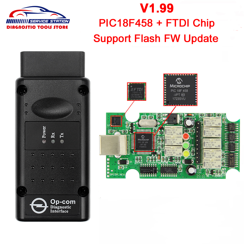 Op com OP-Com Firmware V1.99 Software with PIC18F458 Chip FTDI OBD2 II For Opel