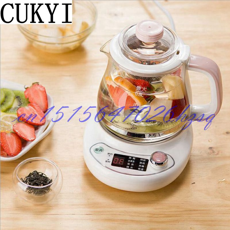 CUKYI Household Electric All glass tea pot Multifunctional soup/Scented tea pot Precise temperature control 0.8L 300W Dry proof cukyi automatic electric slow cookers purple sand household pot high quality steam stew ceramic pot 4l capacity