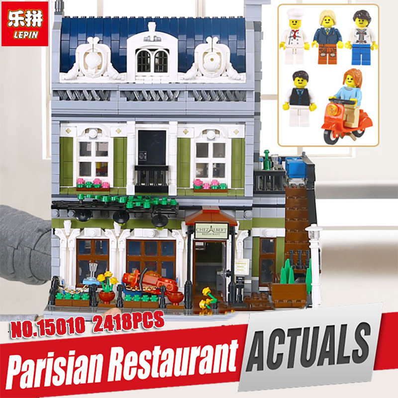 DHL Lepin 15010 Expert City Street Parisian Restaurant Model Educational Building Kits Blocks Funny Toy Compatible legoing 10243 2018 3pcs lot dhl city town street lepin 15001 bank 15010 parisian restaurant 15011 detective s office model building kit blocks