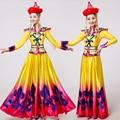 Nuevo estilo Amarillo Mongol ropa Etapa desgaste del funcionamiento de la falda de Baile vestido de Trajes De Baile Chino tradicional traje de la danza de Mongolia