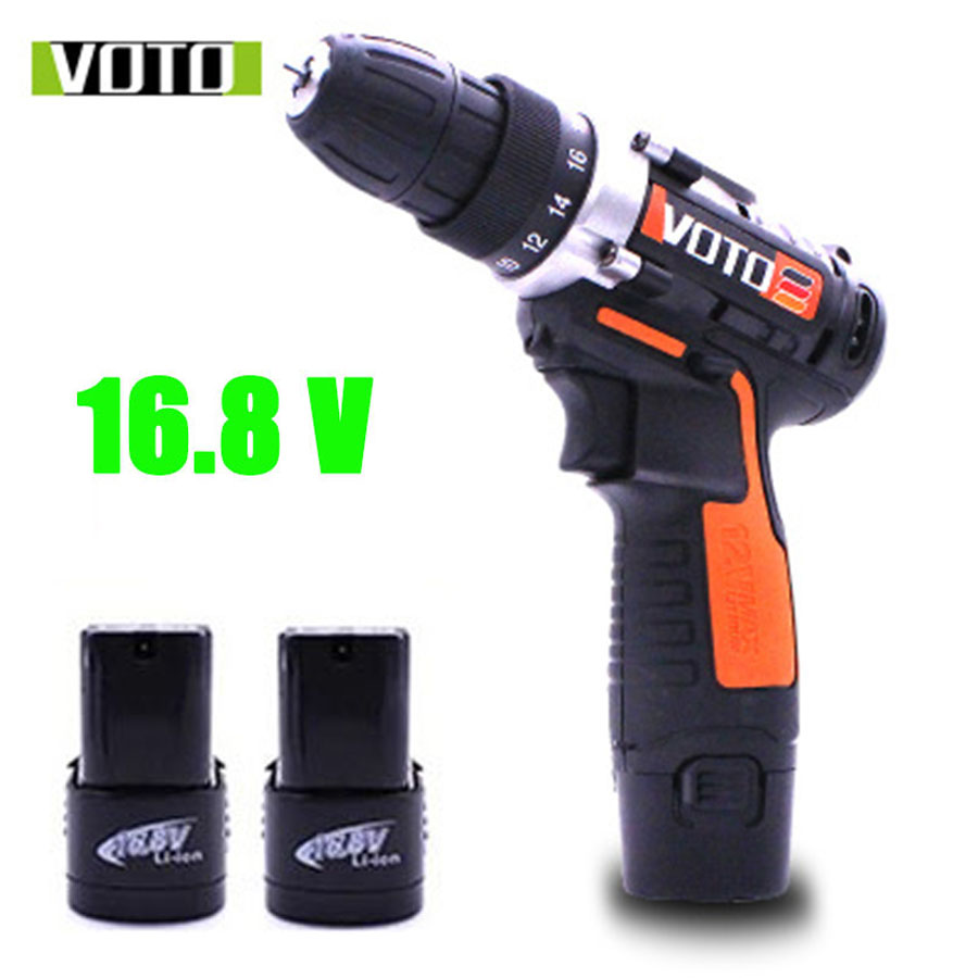 VOTO 2*Battery 16.8V Rechargeable Cordless Drill Electric Screwdriver Lithium Power Tools Screw Gun Driver Industry Orange VT цены онлайн