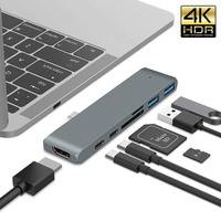 Type c 7 In 1 Hub Adapter For Mac Book 12 13 15 With 4K HDMI 2 Type c PD Charging Data 5Gbs 2 USB 3.0 SD / Micro Card Reader