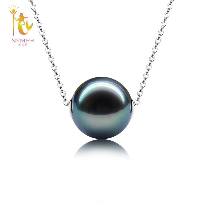 NYMPH 18k White Gold Pendant Necklace Natural Black Tahitian Pearl Jewelry Fine Jewelry Wedding Party Gift For Women D236 nymph brand 18k 9 10mm pearl pendant necklaces for women yellow gold pearl fine jewelry gift party luxury lifestyle