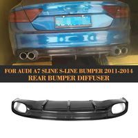 Carbon Fiber Rear Bumper lip spoiler diffuser for Audi A7 S line S7 Hatchback 4 Door 11 14 Non A7 Standard Four Outlet Grey FRP