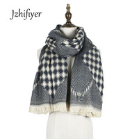 Jzhifiyer YX169 235g Free Shipping Designer Rhombus Twill Scarf Winter Ladies Jacquard Super Warm Scarf Pashmina