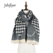 jzhifiyer YX169 235g Free Shipping Designer Rhombus Twill Scarf Winter Ladies Jacquard Super Warm Pashmina Cashmere Shawl