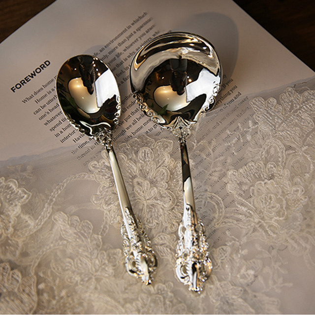 Retro Patterned Metal Spoon and Fork