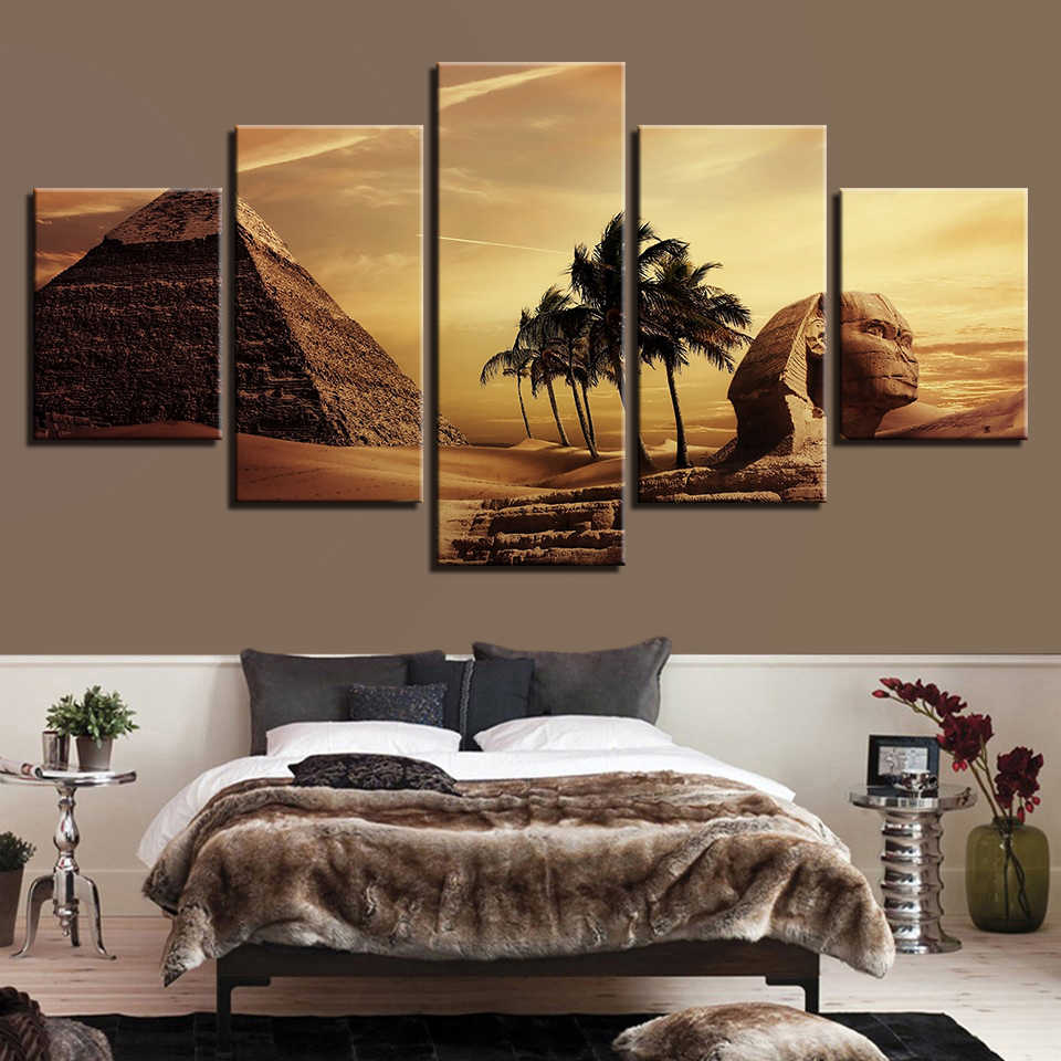 Canvas Pictures Home Wall Art Decor Living Room Framework 5 Pieces Egyptian Pyramids Paintings HD Prints Sunset Desert Posters