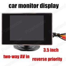 3.5 Inch Car Monitor two channels AV Input For Reversing Camera reverse priority color TFT LCD backup rear camera