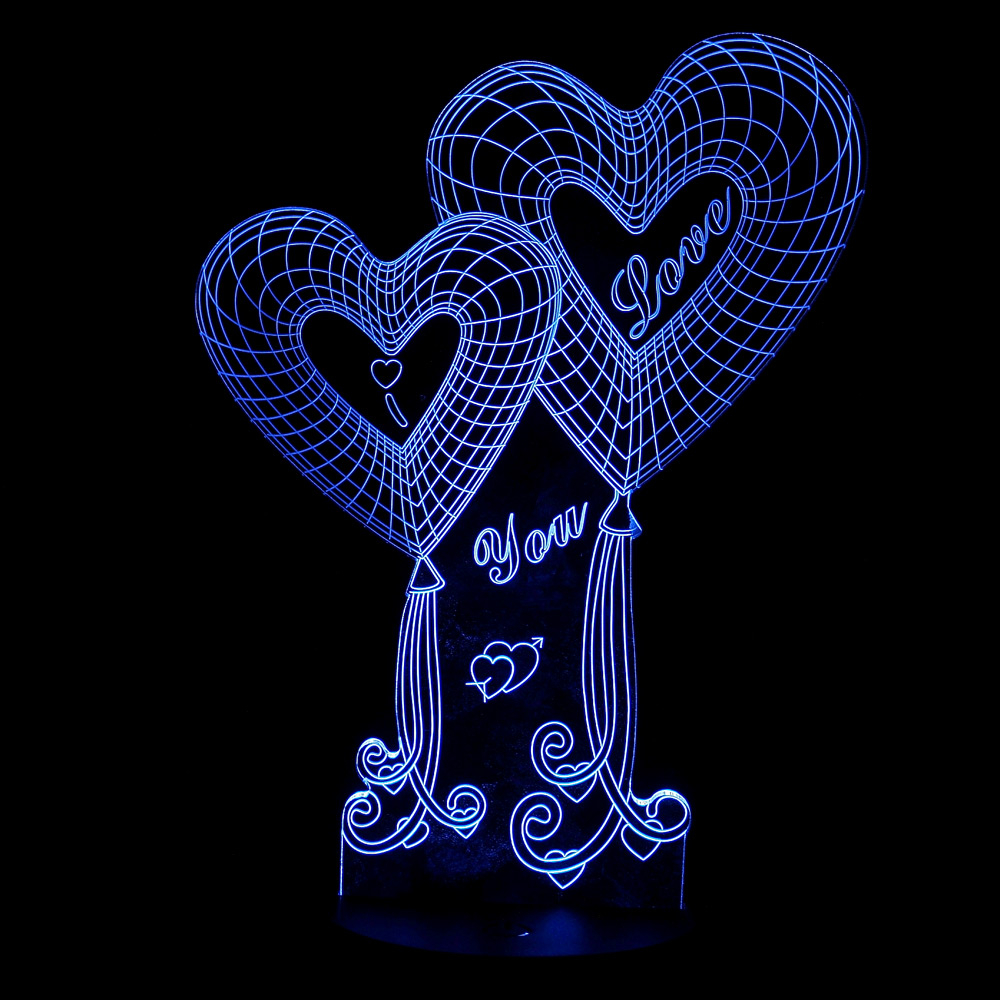 3D Illusion Bulbing Night 7 Color Change Touch Switch Love Rose Lamp LED Light Swich In Lights From Lighting On