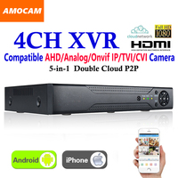 New CCTV 4Channel XVR Video Recorder All HD 1080P 4CH Super DVR Recording 5 in 1 support AHD/Analog/Onvif IP/TVI/CVI Camera