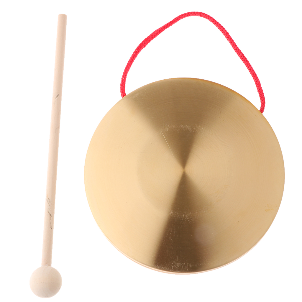 Metal Hand Gong Traditional Instrument Cymbal With Round Play Hammer Kids Educational Toys 15cm Diameter