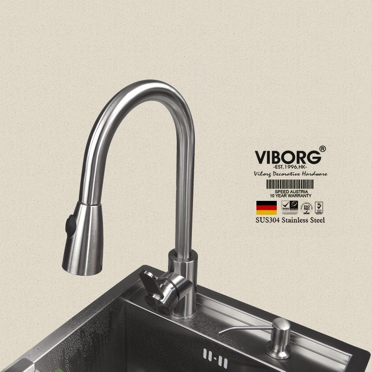VIBORG Deluxe 304 Stainless Steel Lead free Pull out Spray Kitchen Faucet Mixer Tap Pullout Sprayer