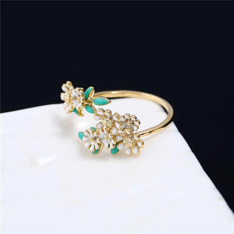 KCALOE Pink Enamel Small Flowers Finger Ring Wedding Party Jewelry Gold Color Adjustable Opening Rings For Women Anelli Donna