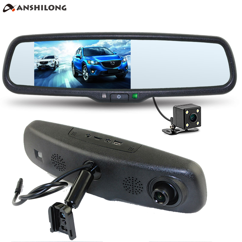 ANSHILONG 5 HD Car Interior Replacement Rear View Mirror Monitor DVR 1080P Rearview Camera Supports Dual