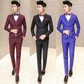 De la tela escocesa trajes con Pant 2015 nueva marca de lujo Weddding traje de hombre Shinny oro linea corea hombres Slim Fit trajes negro rojo azul