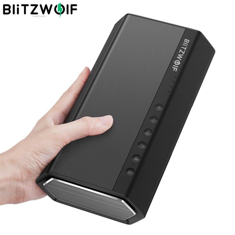 BlitzWolf 40W 5200mAh Double Driver Portable Wireless bluetooth Speaker 30W Strengthened Upward Bass Hands-free Aux-in Speaker