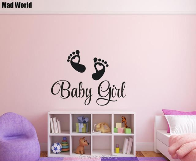 Baby Girl Nursery Wall Art Stickers mad world baby footprints baby girl nursery wall art sticker wall