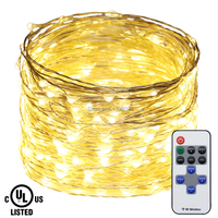 RF Remote Control LED String Lights 30m 50m Silver Wire Christmas Starry Fairy Decorative Holiday Lights