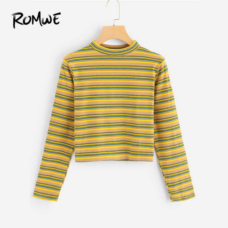 7deb6279c ROMWE Stand Neck Striped Tee Women Casual Long Sleeve T Shirt 2019 Autumn  Female Multicolor Clothing