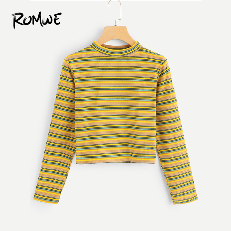 Romwe Stand Neck Striped Tee Girls Informal Lengthy Sleeve T Shirt 2018 Autumn Feminine Multicolor Clothes Spring Crop T Shirt Tops
