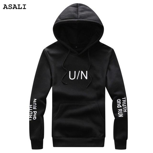 Asali воля бренд clothing 2017 весна осень повседневная письмо с капюшоном пиджаки пуловеры мужские толстовки и кофты y33