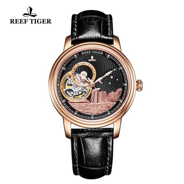 ساعة يد فاخرة للرجال ماركة ريف تايجر/RT تصميم كلاسيكي أوتوماتيكية ساعة يد من الياقوت والكريستال والذهبي الوردي RGA1739