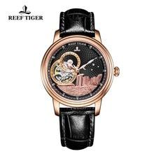 Reef Tiger Reloj de marca de lujo para hombre, automático, clásico, de pulsera, de cristal de zafiro rosa dorado, RGA1739
