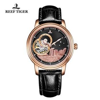 Reef Tigre/RT Signore Di Marca di Lusso Del Progettista Degli Uomini Della Vigilanza Classico Orologio Automatico Zaffiro di Cristallo In Oro Rosa Orologi Da Polso RGA1739