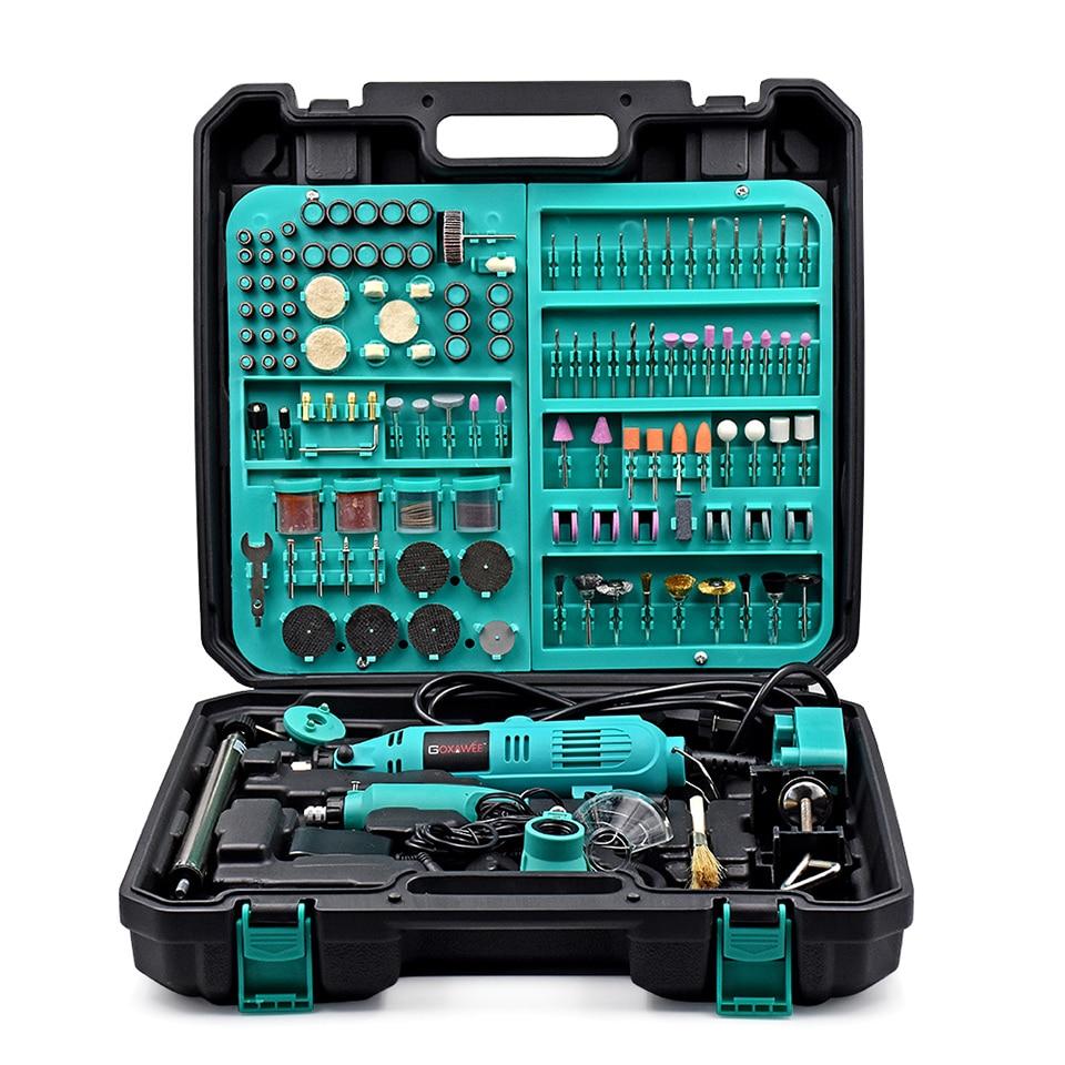 GOXAWEE 130 Вт стиль Dremel переменной Скорость Электрический поворотный инструмент Электрический мини дрель Grinder аксессуары Мощность инструменты