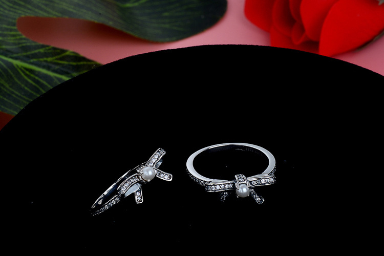 High Quality 925 Sterling Silver Ring Charm Charms With Pearl Bowknot Wedding Ring For Women Jewelry mariposa en plata anillo