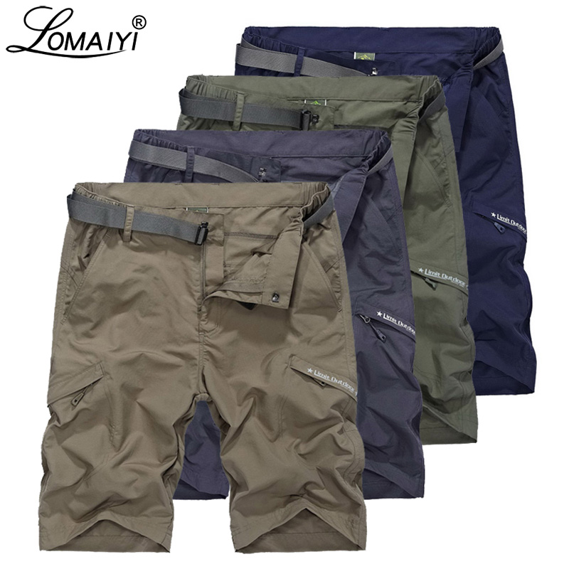LOMAIYI Cargo Shorts Men Breathable Quick Dry Short Mens Shorts Army Green/Khaki Summer Casual Shorts For Man Travel AM385