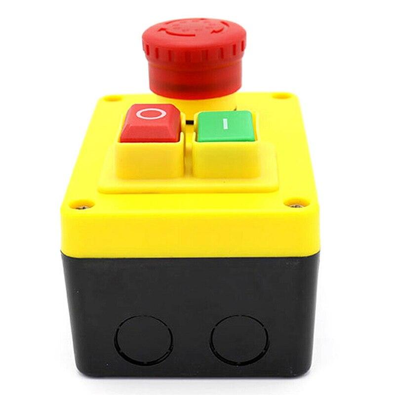 220 V 16A coque en plastique champignon rouge arrêt d'urgence démarrage interrupteur de sécurité marche-arrêt interrupteurs à bouton-poussoir avec bouton séparé