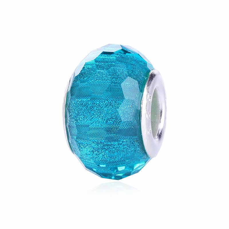 100% אותנטי חרוזים קסמי קריסטל עגול ברור ירוק כחול Fit פנדורה צמידים & צמידי נשים תכשיטי DIY