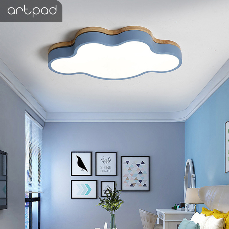 Moderne 5 couleur 27W nuage forme Led plafonnier avec télécommande pour enfants chambre décor Eyecare plafonnier luminaire