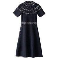 Women Dress Knitted Zippers Robe Hot Drilling Dress Spring Summer Vestido Runway Design Pullovers Femme Sweet