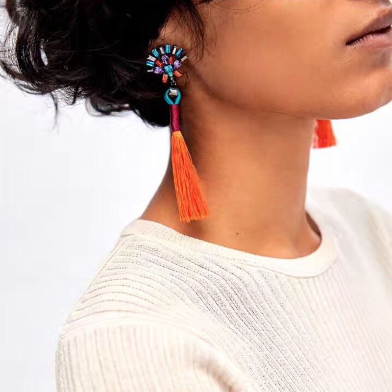 JUJIA 2017 New statement earrings long rope tassel stud MULTICOLOURED POMPOM EARRINGS fashion earring women Fringing earrings
